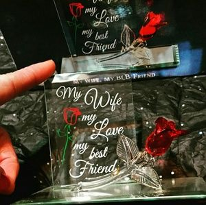 ❤ Beautiful Hand Crafted Glass Plaque w/Glass Rose